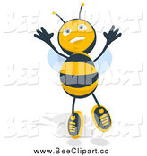 Cartoon Clip Art of a Happy Bee Jumping by Julos