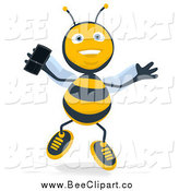 February 8th, 2015: Cartoon Clip Art of a Happy Bee Jumping with a Mobile Phone by Julos