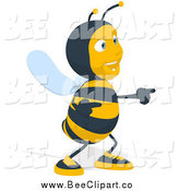 January 29th, 2014: Cartoon Clip Art of a Happy Bee Pointing and Dancing by Julos