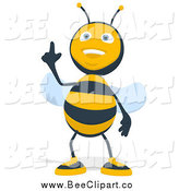 Cartoon Clip Art of a Happy Bee Pointing up by Julos