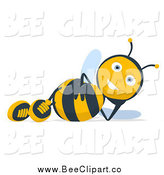 Cartoon Clip Art of a Happy Bee Reclined by Julos
