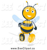 Cartoon Clip Art of a Happy Bee Running Forward by Julos
