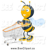 Cartoon Clip Art of a Happy Bee Shopping by Julos