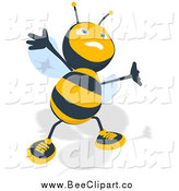 Cartoon Clip Art of a Happy Bee Smiling and Jumping by Julos