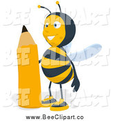 Cartoon Clip Art of a Happy Bee Standing by a Pencil, Facing Slightly Left by Julos