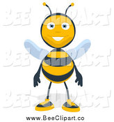 Cartoon Clip Art of a Happy Bee Standing by Julos
