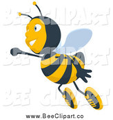 Cartoon Clip Art of a Happy Bee Taking Flight by Julos