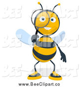 Cartoon Clip Art of a Happy Bee Using a Magnifying Glass by Julos