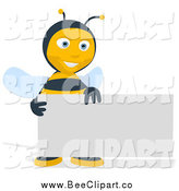 Cartoon Clip Art of a Happy Bee with a Blank Business Card by Julos