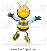 Cartoon Clip Art of a Happy Jumping Bee by Julos