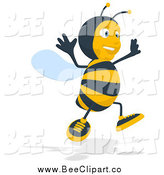 Cartoon Clip Art of a Jumping Bee Facing Slightly Right by Julos