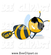 Cartoon Clip Art of a Relaxed Bee in Sunglasses by Julos