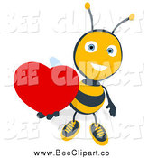 Cartoon Clip Art of a Sweet Bee Holding a Heart by Julos