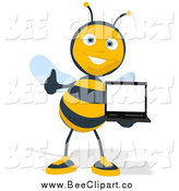 Cartoon Clip Art of a Thumbs up Bee Holding a Laptop by Julos