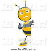 Cartoon Clip Art of a Thumbs up Bee Looking Around a Sign by Julos