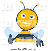 Cartoon Clip Art of a Thumbs up Bee over a Blank Sign by Julos