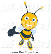 Cartoon Clip Art of a Thumbs up Bee Smiling by Julos