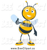 Cartoon Clip Art of a Thumbs up Happy Bee by Julos
