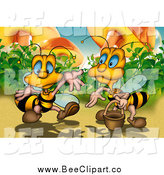 Cartoon Clip Art of Bees by Mushrooms by Dero