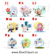 Cartoon Vector Clip Art of a Alphabet Letters and Pictures of J Through R by Hit Toon