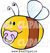 Cartoon Vector Clip Art of a Baby Bee Flying with a Pacifier by Hit Toon