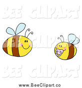 Cartoon Vector Clip Art of a Baby Bee with a Parent by Hit Toon