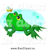 Cartoon Vector Clip Art of a Bee and Cute Frog over a Blue Oval by