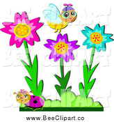Cartoon Vector Clip Art of a Bee and Ladybug with Colorful Flowers in a Garden by