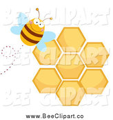 Cartoon Vector Clip Art of a Bee by a Honeycomb by Hit Toon