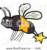 Cartoon Vector Clip Art of a Bee by Lineartestpilot
