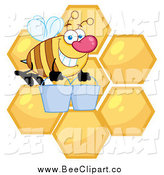 Cartoon Vector Clip Art of a Bee Carrying Buckets over Honey Combs by Hit Toon