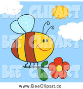 Cartoon Vector Clip Art of a Bee Flying with a Red Daisy Flower in a Sunny Sky by Hit Toon
