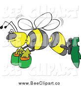 Cartoon Vector Clip Art of a Bee Flying with Honey Buckets by Djart