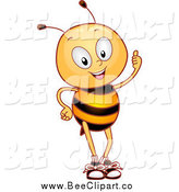 Cartoon Vector Clip Art of a Bee Holding a Thumb up by BNP Design Studio