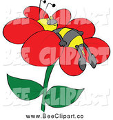 Cartoon Vector Clip Art of a Bee Napping on a Flower by Djart