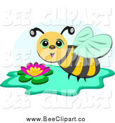 Cartoon Vector Clip Art of a Bee over a Flower by