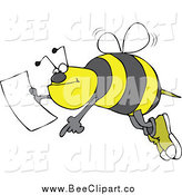 Cartoon Vector Clip Art of a Bee Pointing with a Map by Djart