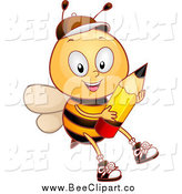 Cartoon Vector Clip Art of a Bee Student Boy Holding a Pencil by BNP Design Studio