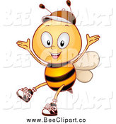 Cartoon Vector Clip Art of a Bee Student Cheering by BNP Design Studio