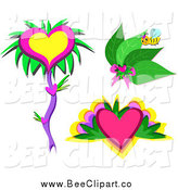 Cartoon Vector Clip Art of a Bee with Leaves and Hearts by