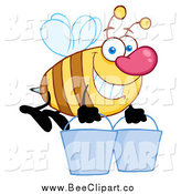 Cartoon Vector Clip Art of a Big Nosed Worker Bee Carrying Two Buckets by Hit Toon