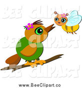 Cartoon Vector Clip Art of a Bird and Bee Talking by