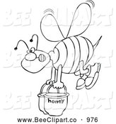 Cartoon Vector Clip Art of a Black and White Bee Carrying Heavy Buckets of Honey by Djart