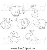 Cartoon Vector Clip Art of a Black and White Bee Elephant Snake Dog Hippo Penguin and Whale by Yayayoyo