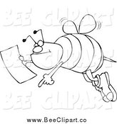 Cartoon Vector Clip Art of a Black and White Bee Pointing and Holding a Map by Djart