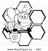 Cartoon Vector Clip Art of a Black and White Bee Waving and Carrying a Bucket over Honeycombs on WHite by Hit Toon