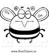 Cartoon Vector Clip Art of a Black and White Bored Bee by Cory Thoman
