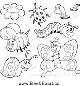Cartoon Vector Clip Art of a Black and White Cartoon Bee and Insects by Visekart
