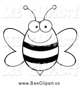 Cartoon Vector Clip Art of a Black and White Happy Bee by Hit Toon