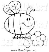 Cartoon Vector Clip Art of a Black and White Happy Bee Flying with a Daisy Flower by Hit Toon
